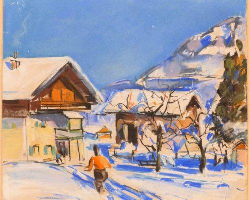 Friedrich Ludwig - Schneeschuhläufer mit Almhütte