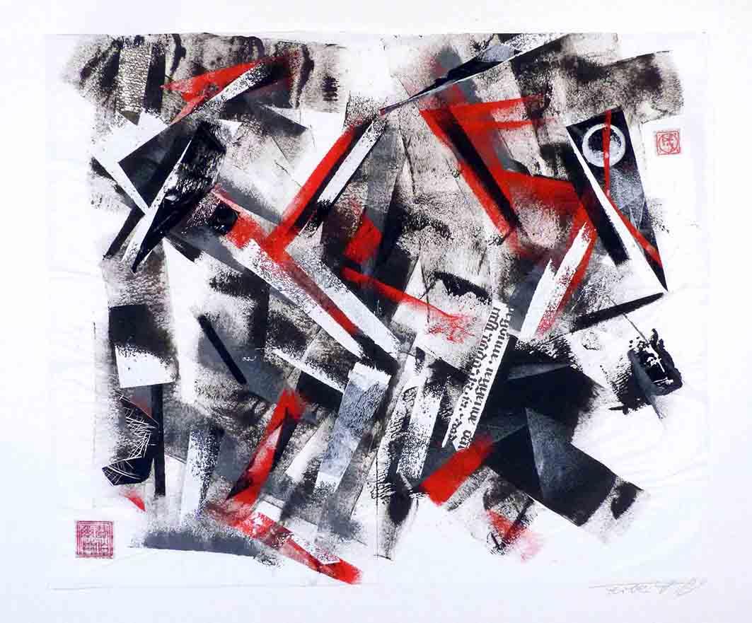 o. T. - schwarz, weiß, rot