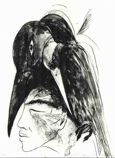Angela Hampel - Kopf mit Raben