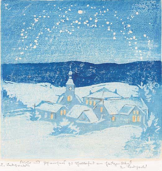 Kirche und Pfarrhaus zu Schellerhau am Heiligen Abend
