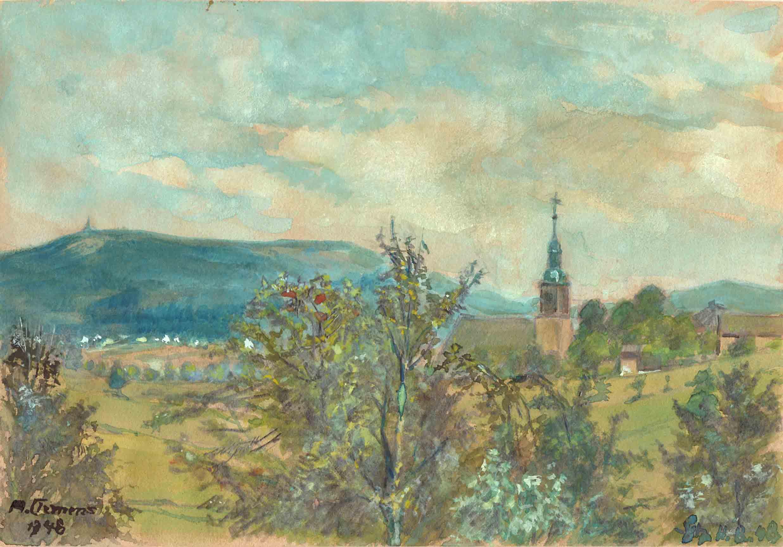 Blick zur Schellerhauer Kirche