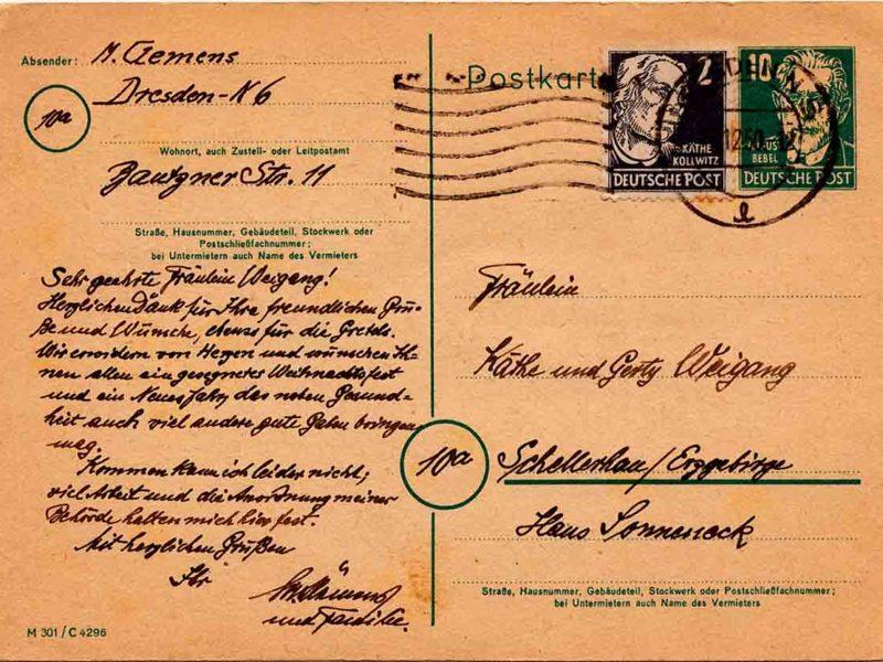 Martin Clemens - Hirsch - Postkartenrückseite