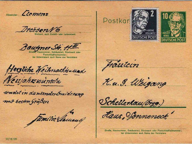 Martin Clemens - Pferdeschlitten - Postkartenrückseite